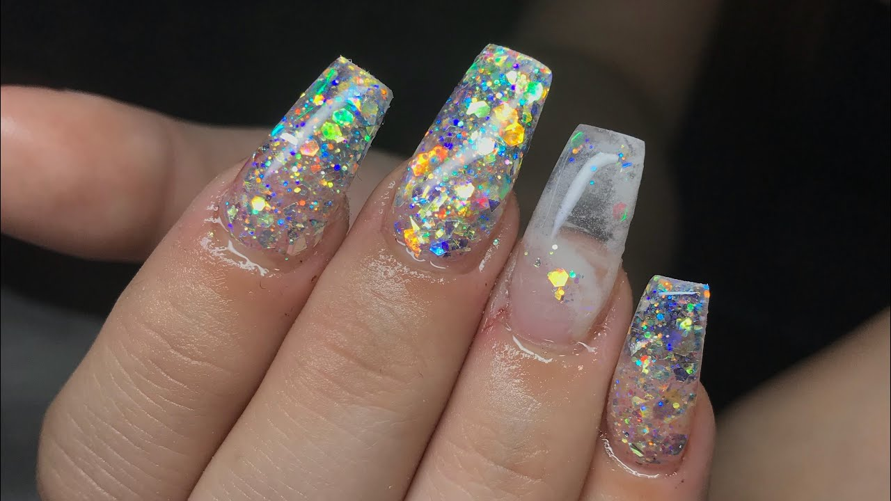 Acrylic Nails Tutorial | Encapsulated Glitter & Marble Coffin Nails ...
