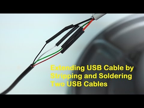 Extending USB Cable by Stripping and Soldering Two USB Cable