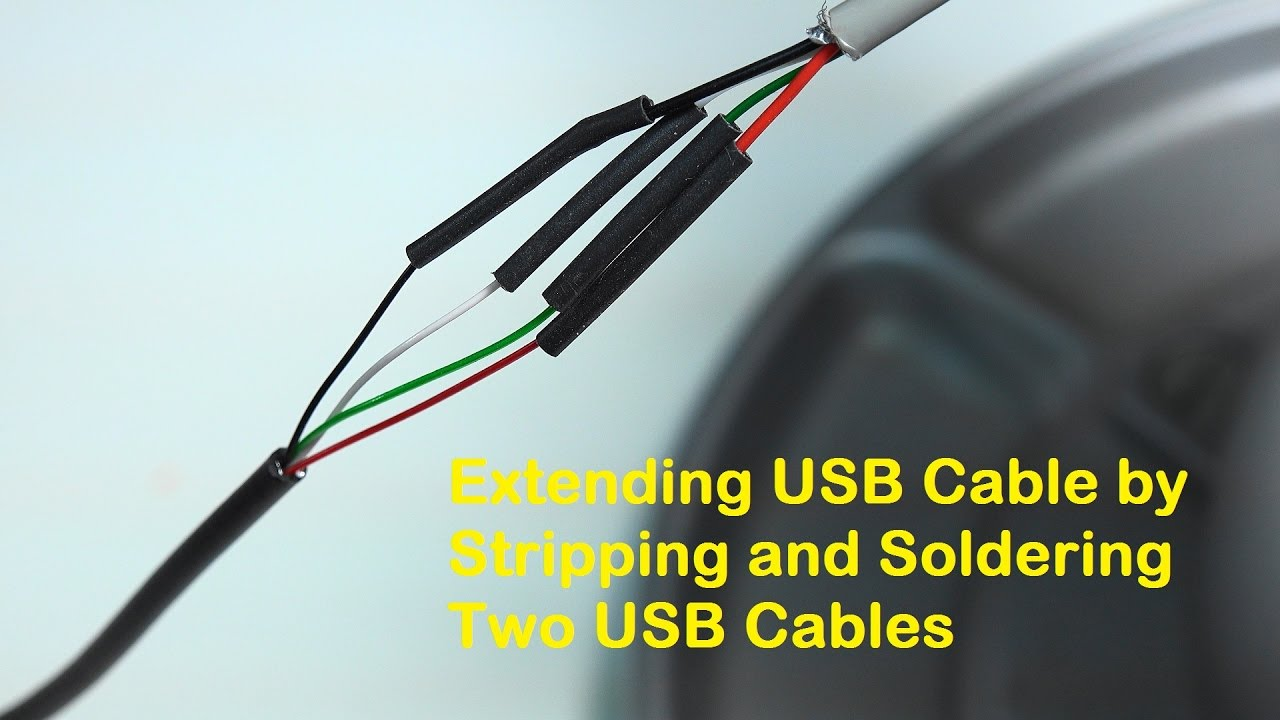 extending usb cable by stripping and soldering two usb cables [ 1280 x 720 Pixel ]
