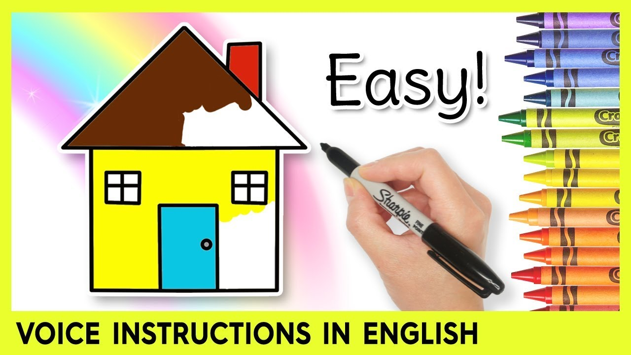 Easy house drawing for kids step by step lessons