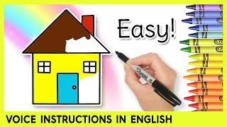 Easy HOUSE Drawing for Kids! Step by Step Lessons