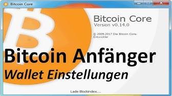 Bitcoin Core Wallet Einstellungen auf Deutsch