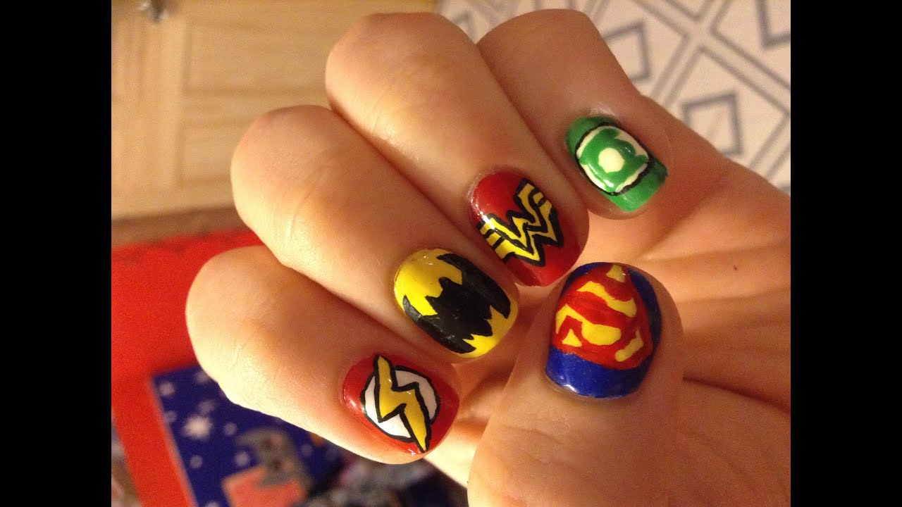 DC Comics Inspired Nails - YouTube