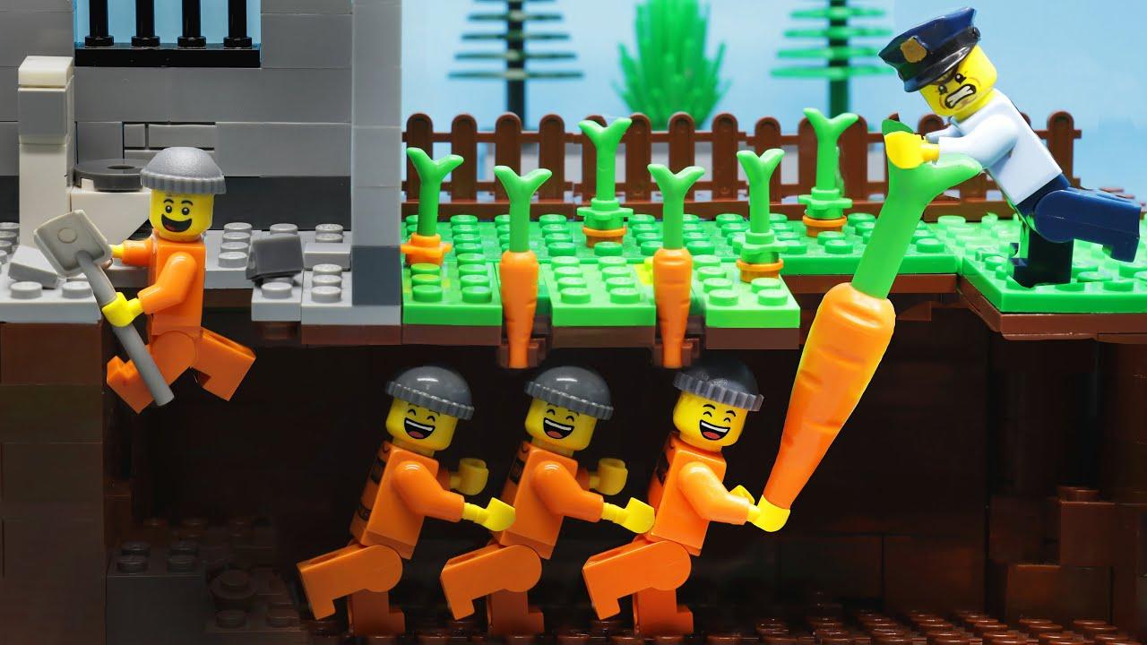 Lego Prison Break| Digging A Secret Tunnel Under Jail (Lego Stop Motion)