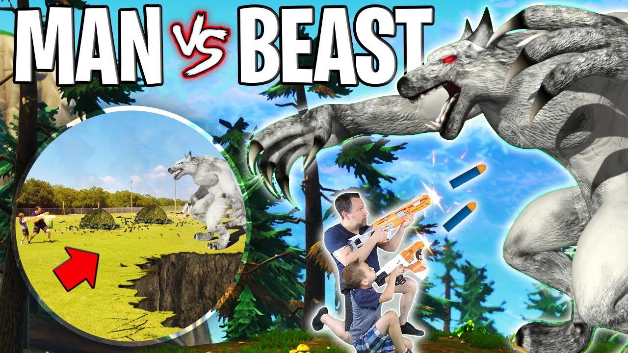 Werewolf Sneak Attack!! Nerf War Pins Man vs Beast! • BTT