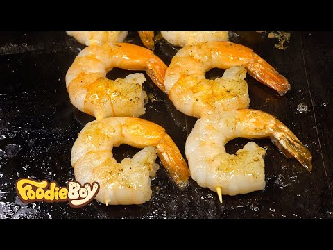 Shrimp Skewer with Cheese / Korean Street Food / Busan Korea