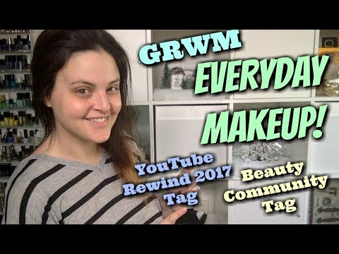 LIVE CHAT - Everyday Makeup GRWM! PLUS TAGS! YouTube Rewind 2017 & Beauty Community Tag!