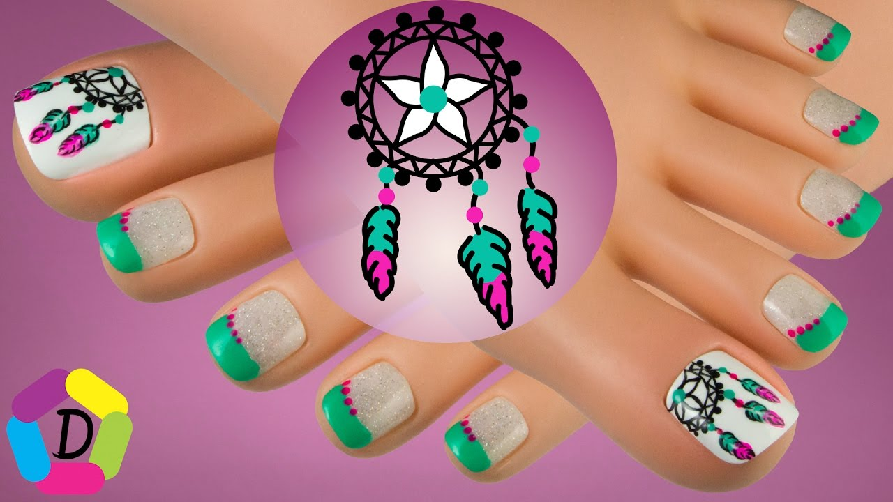 Dreamcatcher Easy Toe Nail Design