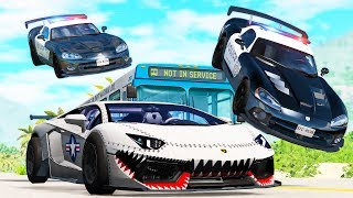 Beamng drive - Police Chases vs Sports Cars crashes #12
