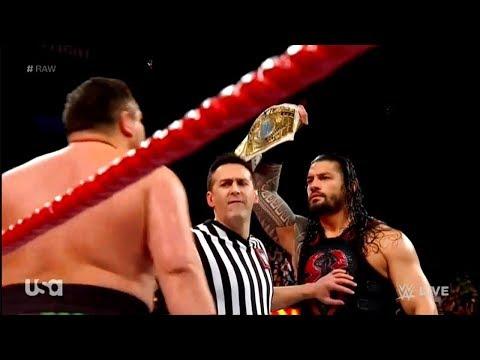 Intercontinental Champion Roman Reigns vs Samoa Joe - WWE RAW 1/1/18 thumbnail
