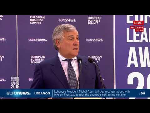 رئيس البرلمان الاوروبي انطونيو تاياني يتحدث خلال توزيع جوائز القيادات الاوروبية  - نشر قبل 26 دقيقة