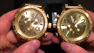 Authentic VS Fake Nixon 51-30 All Gold.