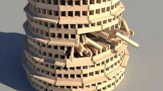 KEVA planks round tower build and destroy using Bullet Physics Engine thumbnail