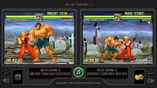 Art of Fighting 3 (Arcade vs Neo Geo CD) Side by Side Comparison (2 Longplay)