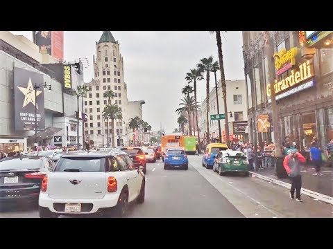 Driving Downtown - Central Hollywood - Los Angeles CA USA 4K