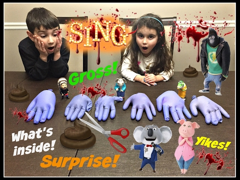 Cutting Squishy Hands SING Movie Surprises!! What's Inside! Buster Moon? Slime? Poop? Blood?