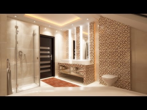Bathroom interior design styling with modern LED ceiling ...