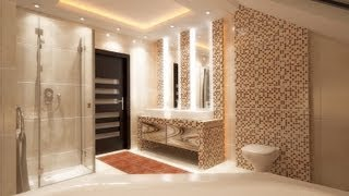 Bathroom interior design styling with modern LED ceiling lights Film 3D HD