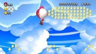New Super Mario Bros. U -- Balloon Baby Yoshi Super Play in Mushroom Heights!