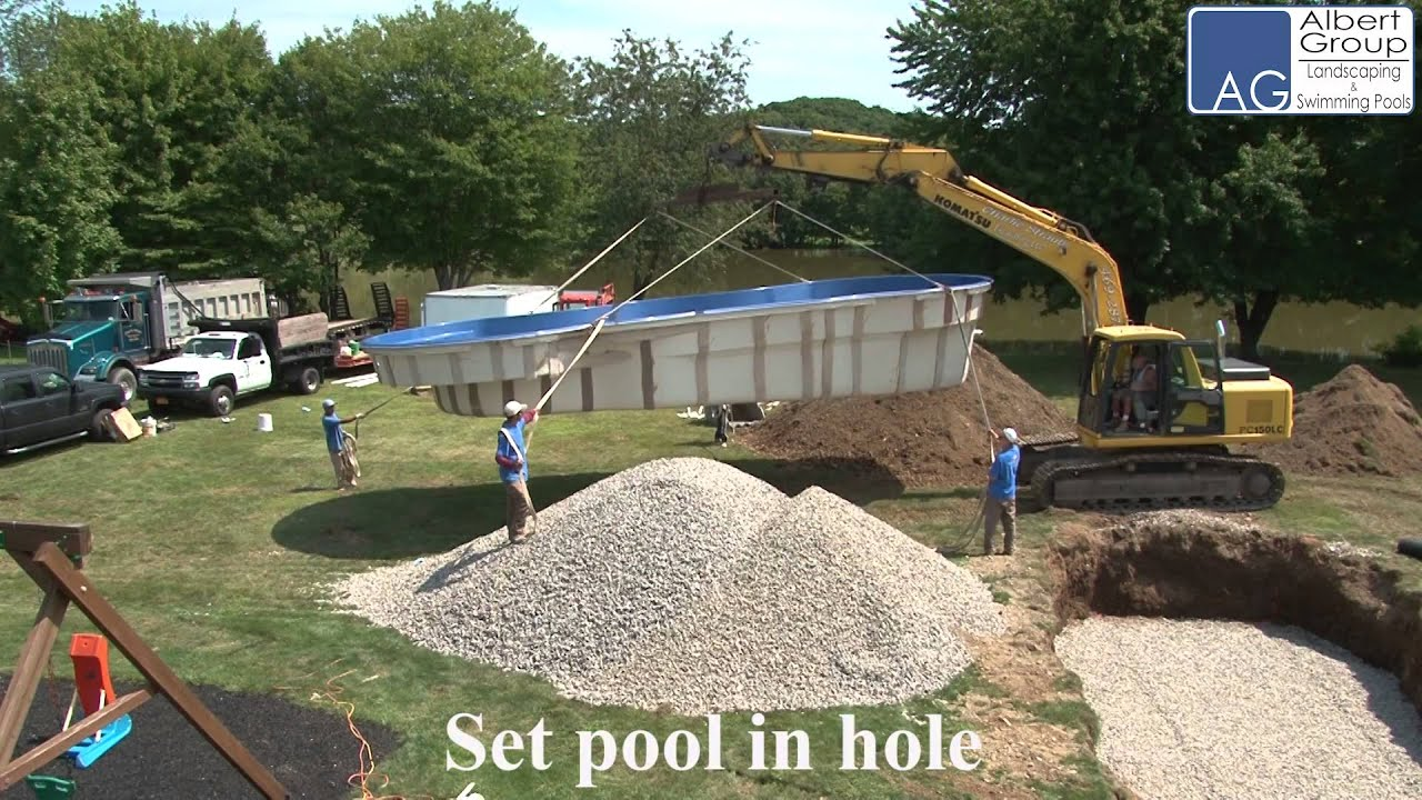 Leisure pools fiberglass pool installation water ready on the first day youtube Fiberglass swimming pool installation