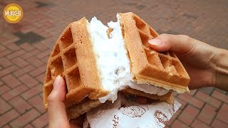 Waffle with Whipped Cream │ 생크림 와플 │ Korean Street Waffle │ Korean Street Food