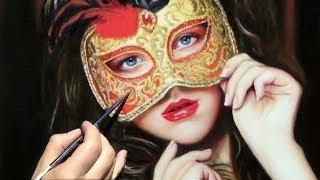 Woman in HALLOWEEN Costume / Venetian Mask / Makeup ✦ REALISTIC PORTRAIT ART ✦ PAINTING DEMO VIDEO