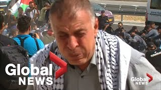 Israeli forces pepper spray Palestinian protesters at West Bank village
