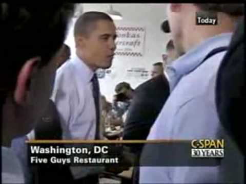 Obama learns about his own defense intelligence agency - NGA at Five Guys