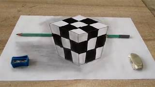 how to draw 3d cube art on paper