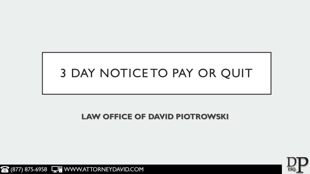 ccp 1161 2 3 day notice to pay rent or quit in california youtube