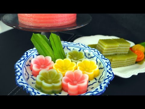 Thai Layered Dessert Recipe: Khanom Chan (ขนมชั้น)| Thai Recipes