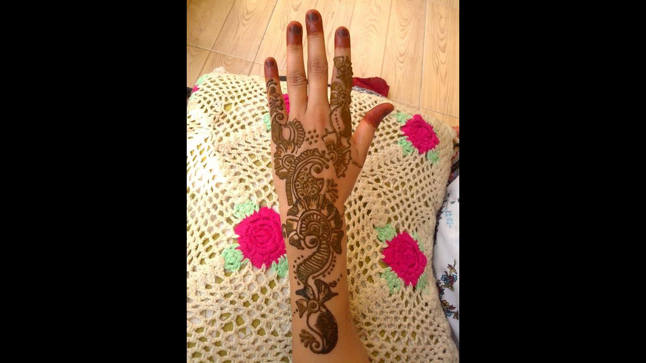 Mehndi Hand Backside Design : Arabic henna mehandi design backside of hand youtube