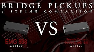 EMG 808 vs BLACKOUTS 8 - Eight String Active Bridge Pickup Guitar Tone Comparison / Review