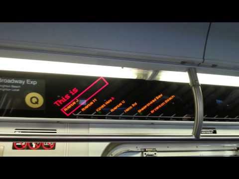 BMT Brighton Line: R160 FIND Display of a Brighton Beach-bound Q Train