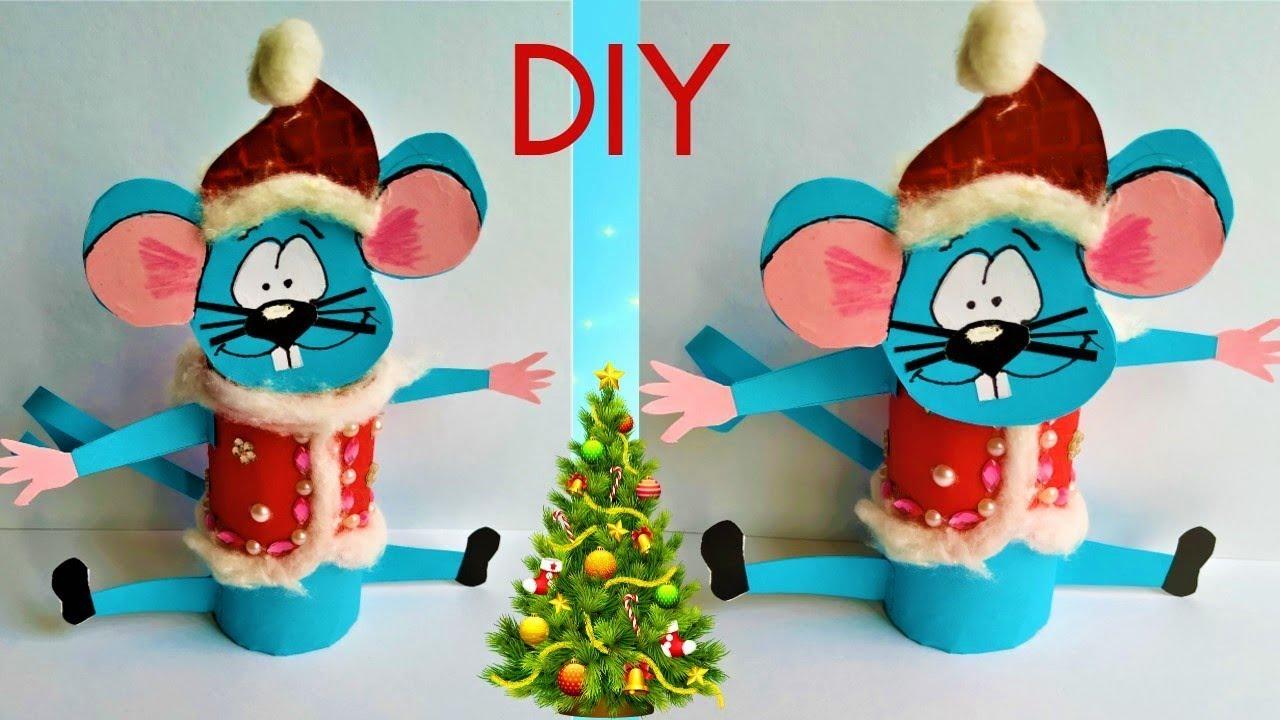 Как сделать мышку из туалетной втулки, бобины. A mouse 2020