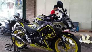 Hasil Pemasangan Striping Full Body Honda CBR K45 Red Bull