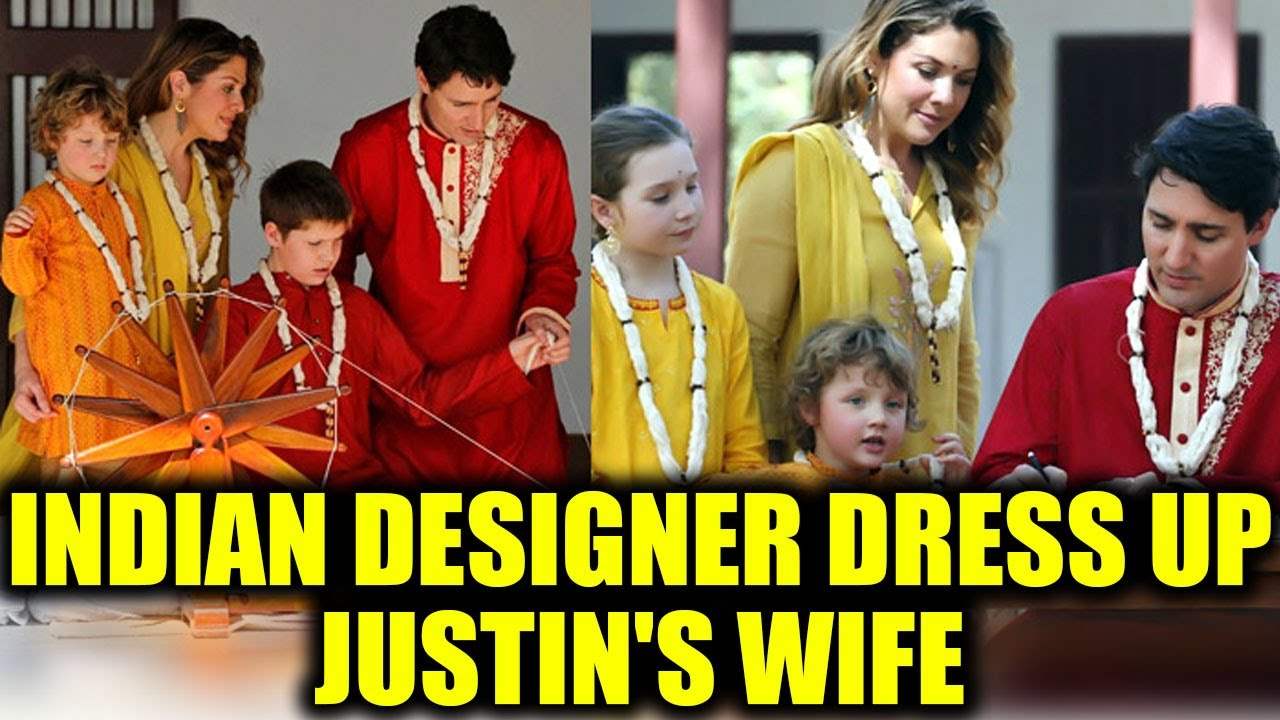 1ac31bdf0d Canada PM Justin Trudeau's wife wearing Indian dresses from this Indian  Designer! | Boldsky