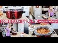 CLEAN & CROCKPOT COOK WITH ME | AFTER DINNER CLEANING ROUTINE | EASY HEALTHY WEEKNIGHT MEAL/RECIPE