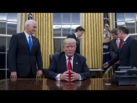 US - President Trump signs executive order withdrawing US from TPP trade deal