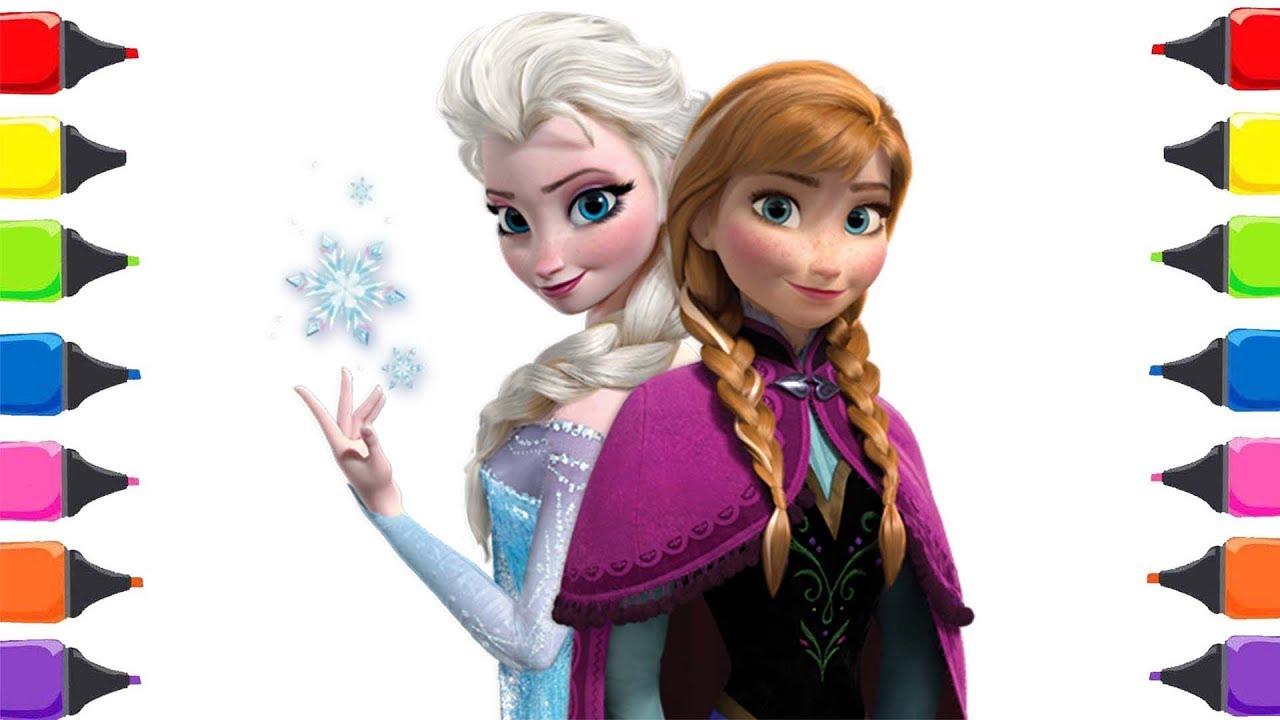 Frozen Elsa Anna Boyama Renkleri öğreniyorum Sihirli Kalemler Youtube