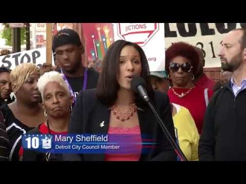 Detroit Council Woman Mary Sheffield Save Our Homes Rally 2016