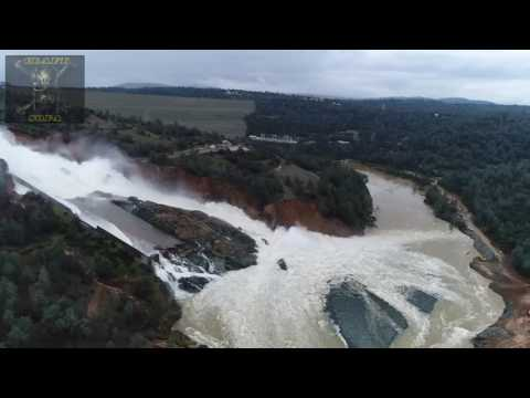 Oroville Dam 2/19 Spillway close-up. Plus Drone footage and ground views