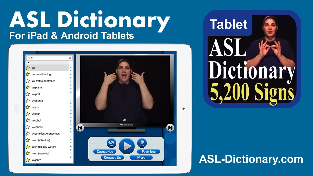ASL Dictionary for iPad and Android Tablets