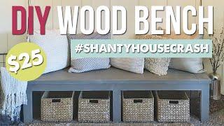 $25 Farmhouse Style Bench | #ShantyHouseCrash