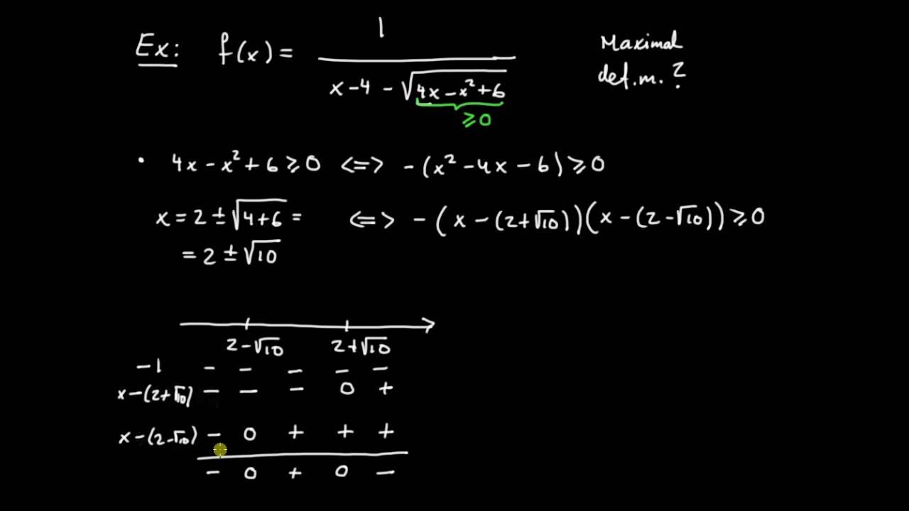Funktioner del 6 - största möjliga definitionsmängd till en funktion, exempel