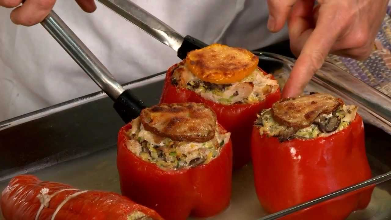 Roasted Red Peppers Stuffed With Chicken Mushrooms Squash Kelly Clark