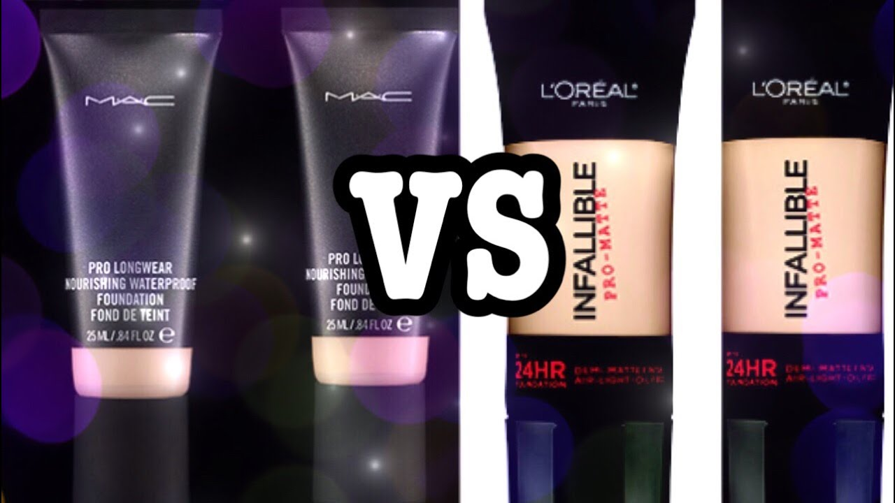 MAC Nourishing Waterproof VS Loreal Pro Matte Infallible Foundation