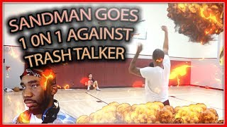 HILARIOUS 1V1! SANDMAN VS SHORT TRASH TALKER!(FLOCKA'S REACTION)! IRL BASKETBALL VIDEO #GOMFSFB
