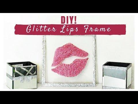 DIY Glitter Lips Frame Room Decor For Cheap!