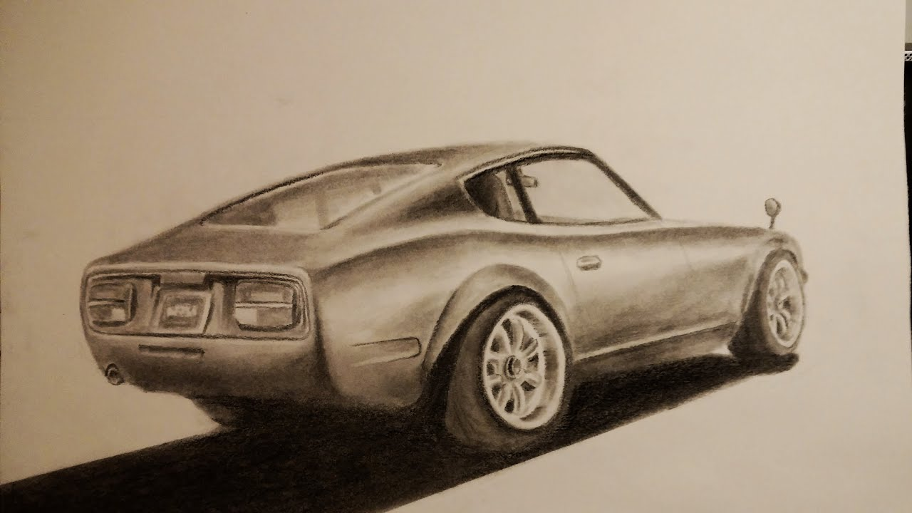 Awesome Car Drawing: Datsun (Nissan) 240Z - YouTube